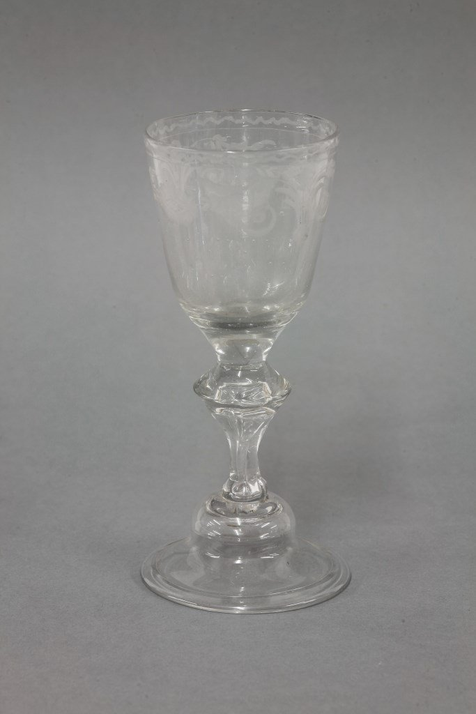A Wine Glass, c.1780, the bucket bowl engraved with