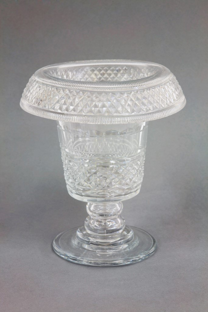 An Irish cut glass Vase,  c.1810, with fluted and