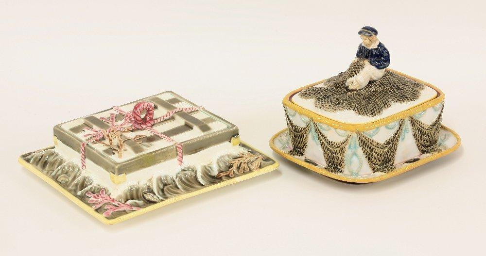 A George Jones majolica sardine box and cover, c.1875,