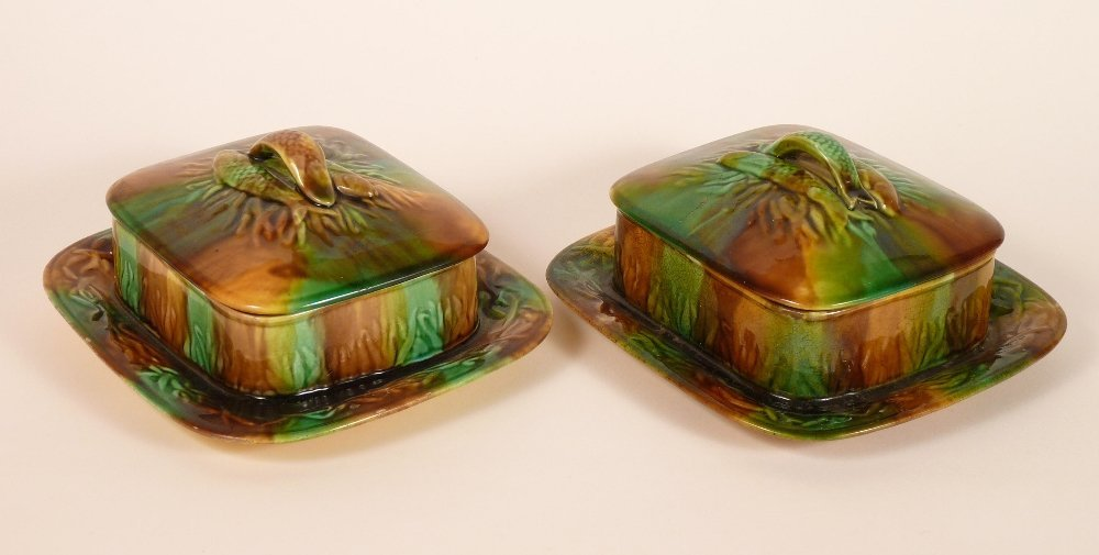 Four majolica sardine boxes and covers, c.1875, all