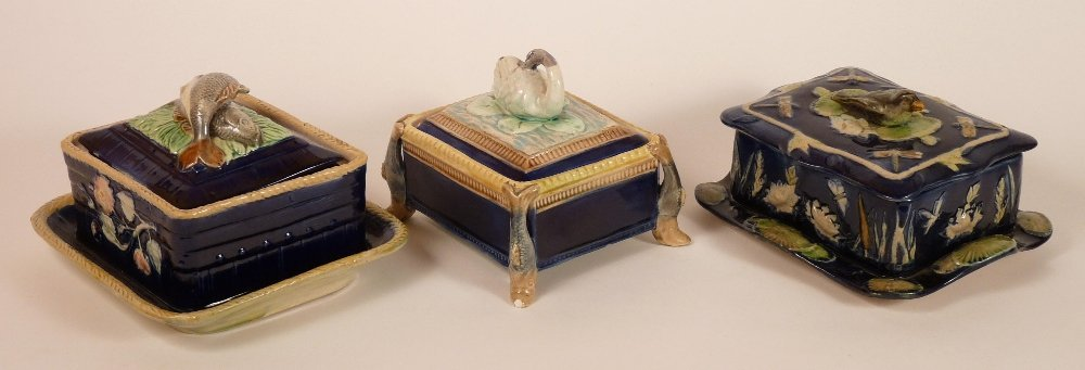 Three majolica sardine boxes and covers, c.1875, the