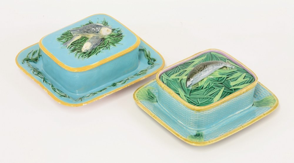A Minton majolica sardine box and cover, c.1870, the