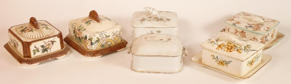 Six Victorian sardine boxes and covers, a pair of