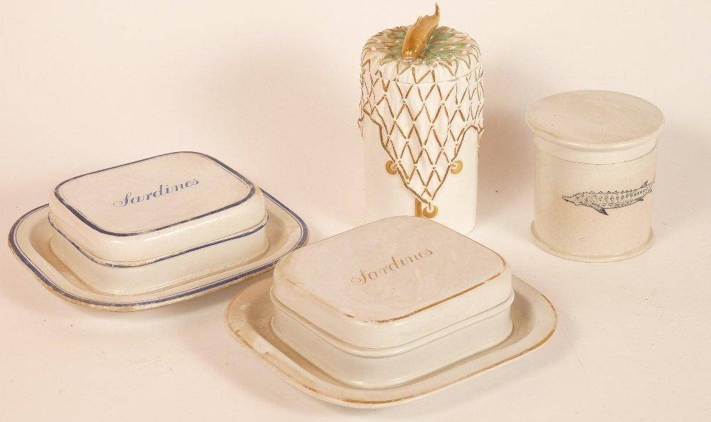 Two Copeland sardine boxes and covers, each plain with