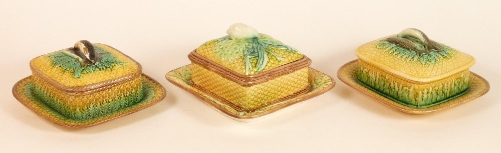 Three Victorian basket weave moulded majolica sardine