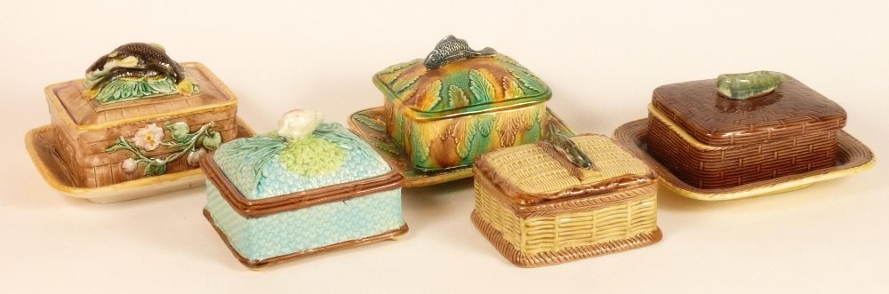 Five Victorian majolica sardine boxes and covers, four