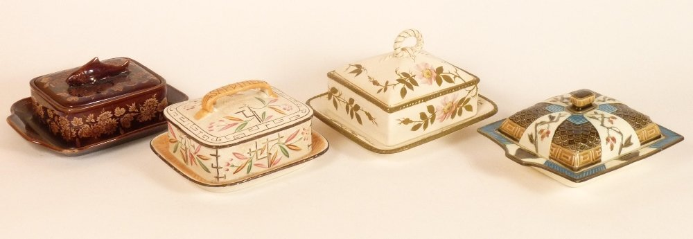 Four Victorian sardine boxes and covers, a Wedgwood box