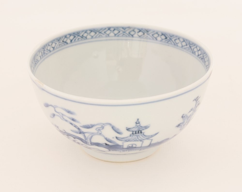 A Chinese blue and white bowl, mid-18th century,