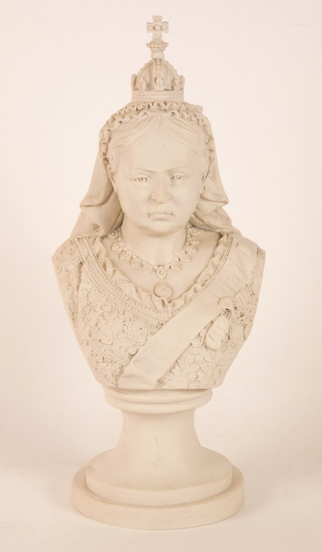 A resin bust of Queen Victoria, on a circular socle,