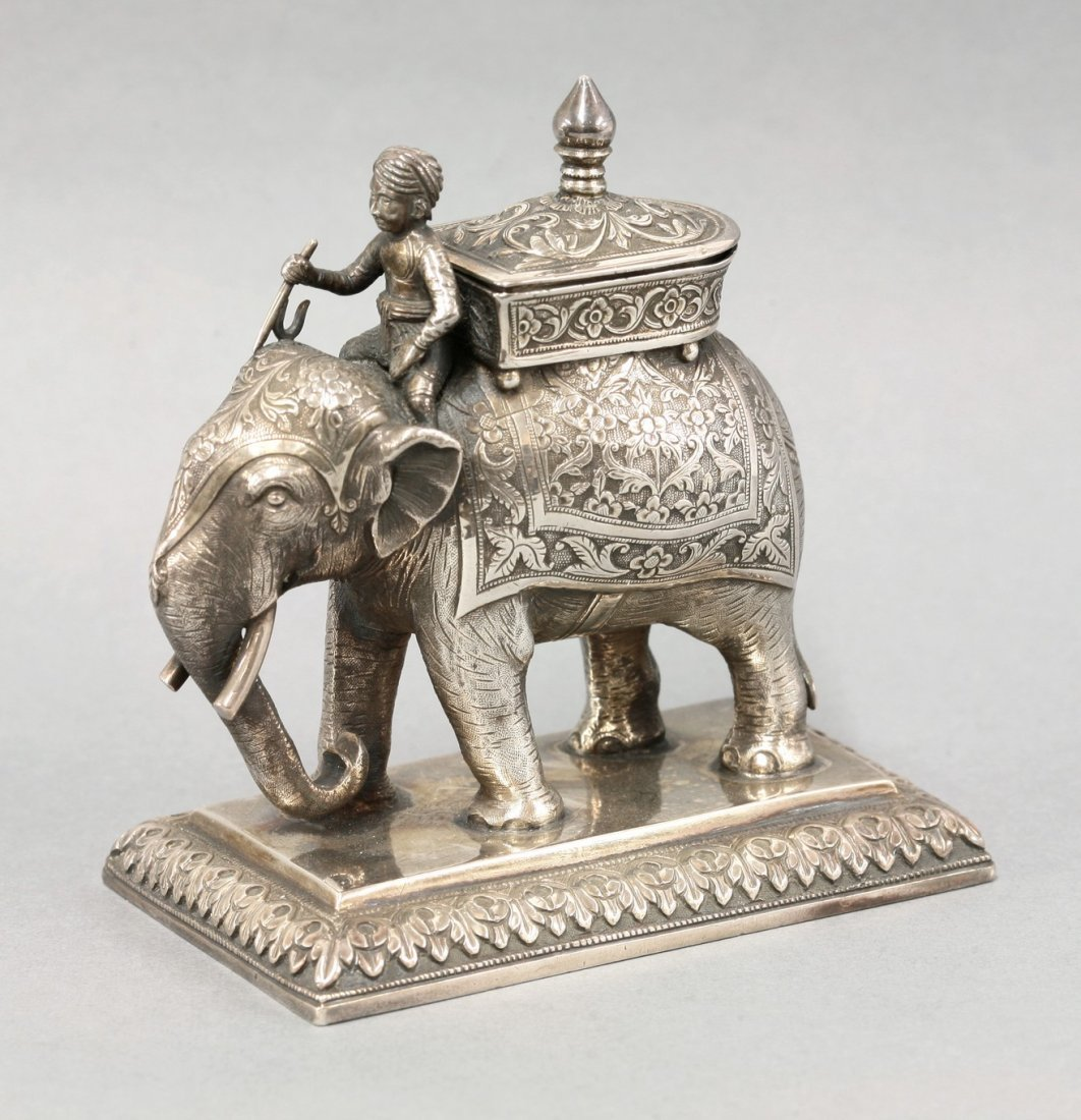 An Indian silver Inkwell,  c.1880, by Oomersee Mawjee,