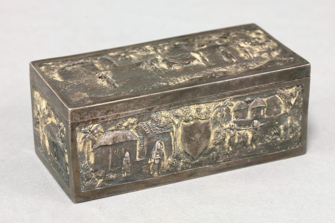 An Indian silver Box,  early 20th century, each side