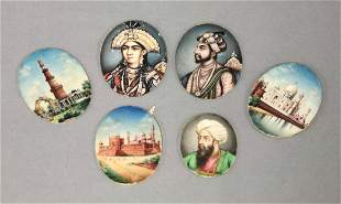 Six Indian Miniatures on ivory, 19th century, depicting