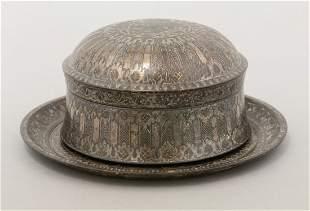 A Bidri ware Box, Cover and Stand, mid 19th century,