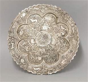 A Siamese silver Salver, late 19th century, worked with