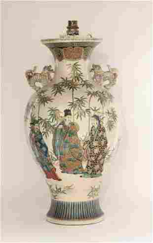 A large Kyoto Vase, c.1860, well decorated in enamels