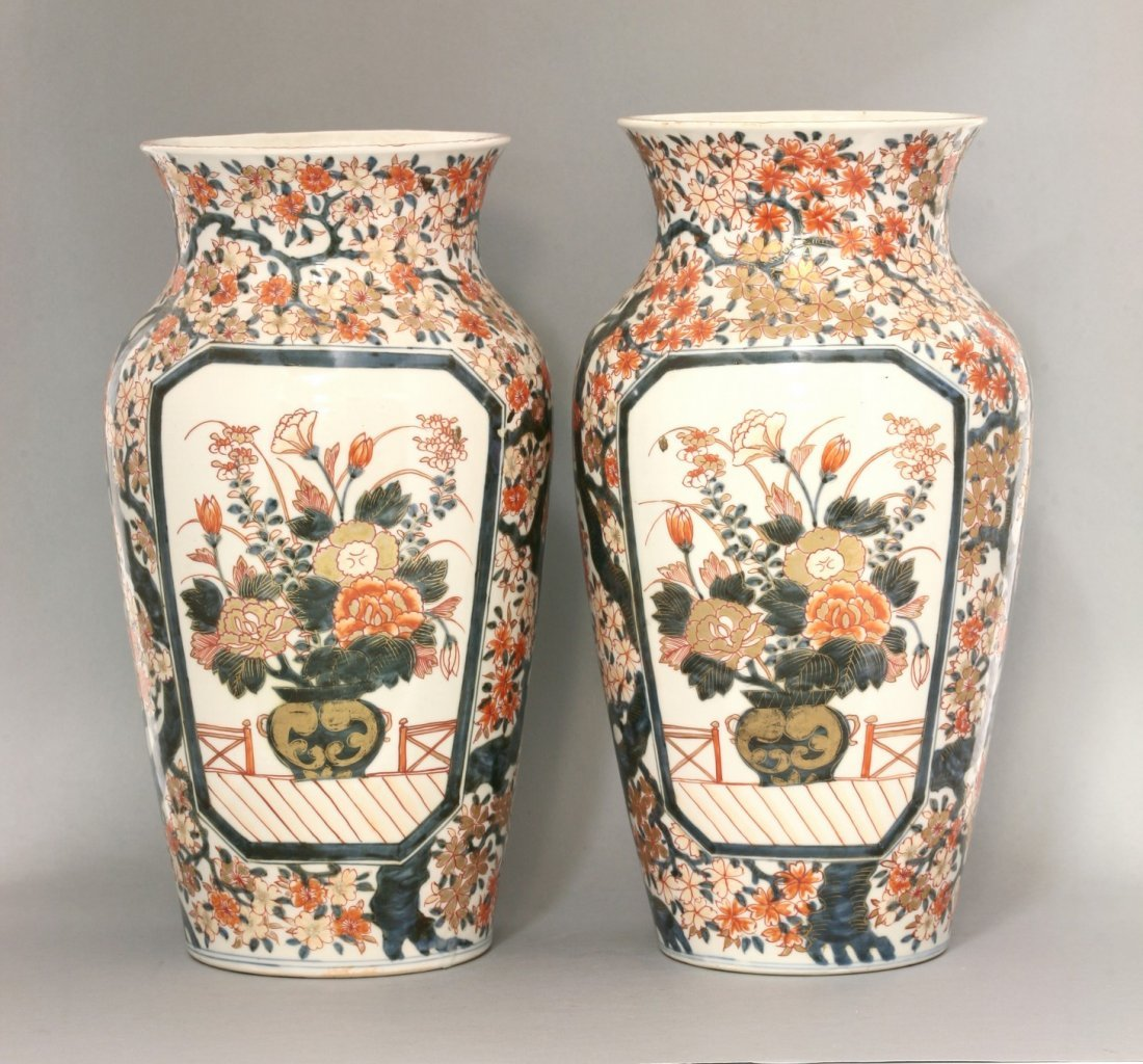 A pair of Imari Vases, late 19th century, each of