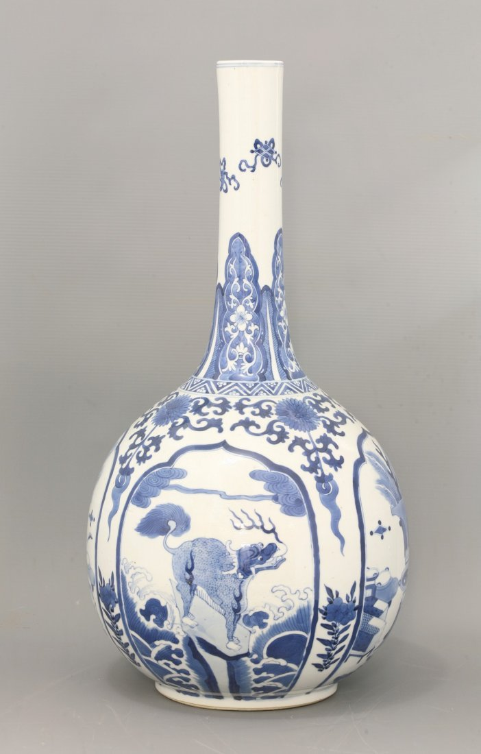 A blue and white Bottle Vase, 19th century,