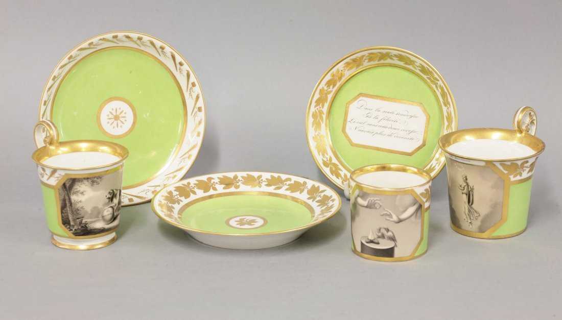 Two Vienna Cabinet Cups and Saucers, c.1815, both with