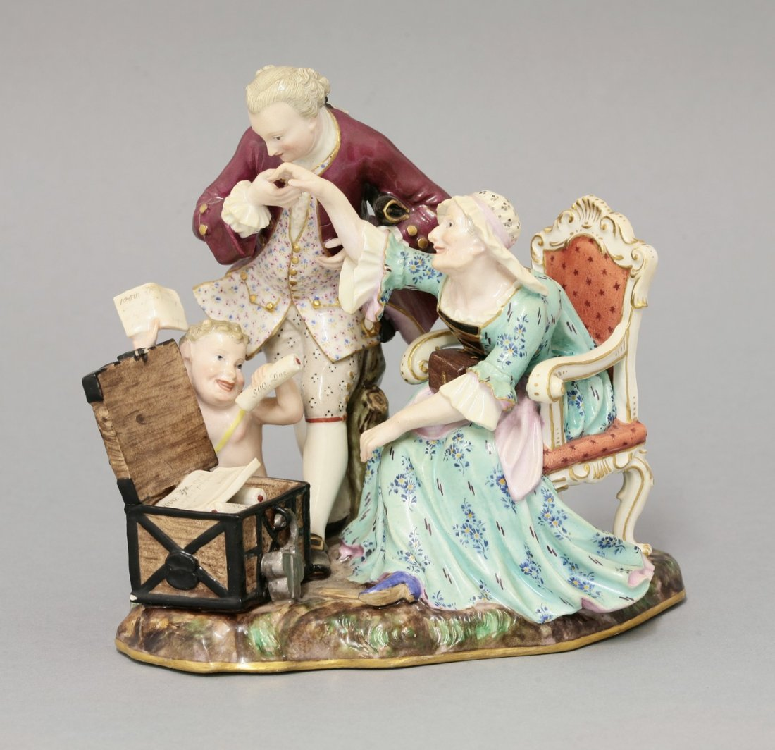 A rare Meissen Group, early 19th century,of an amorous