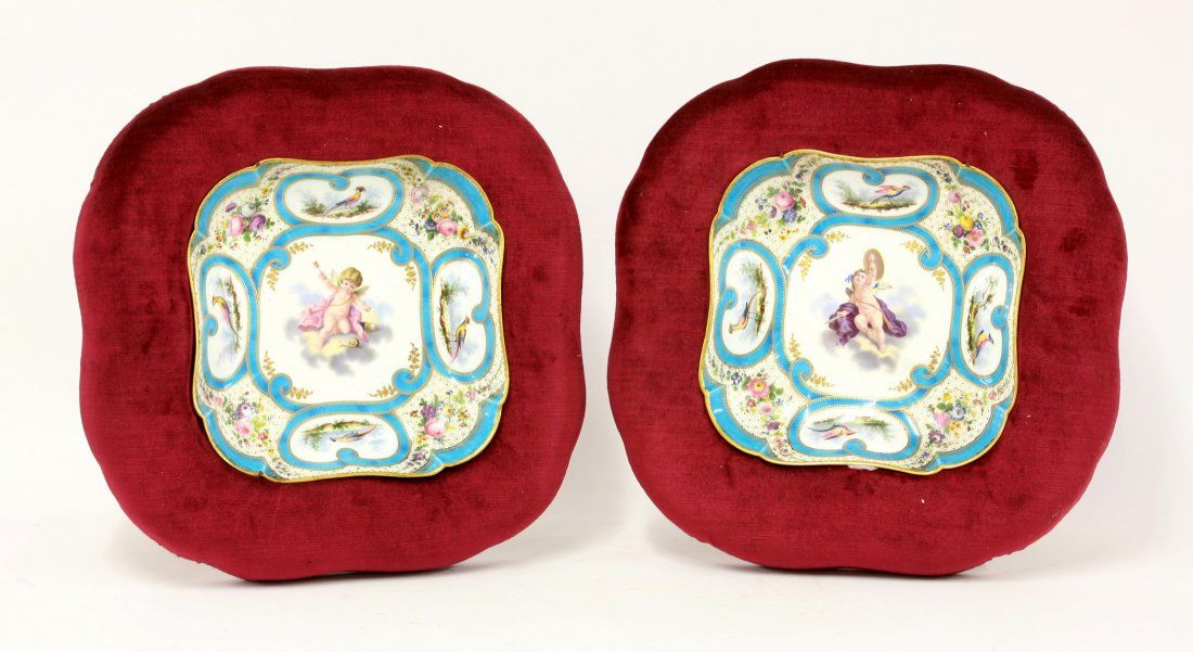 A pair of Sèvres-style notched square Dishes, c.1835,