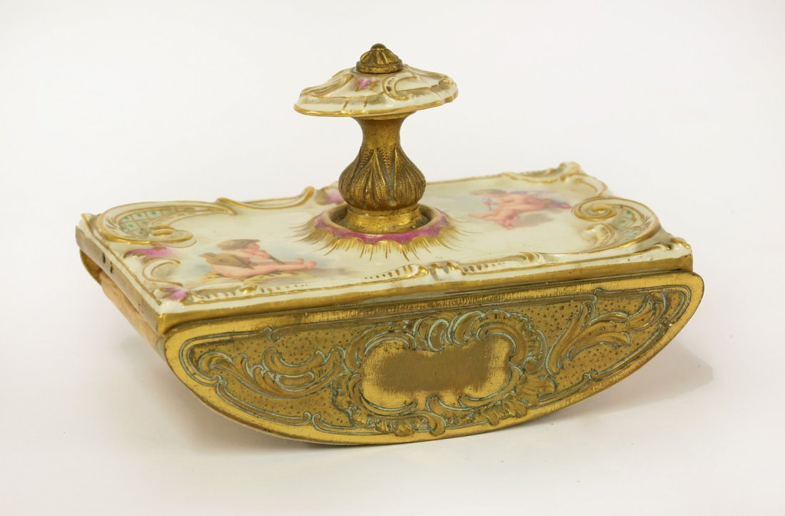 A Berlin Desk Blotter, mid 19th century, mounted with a
