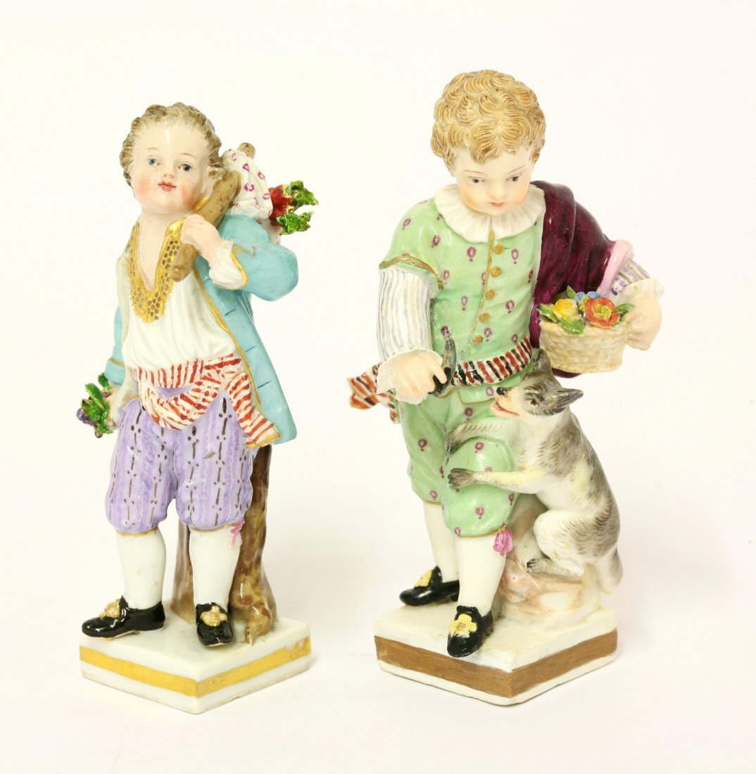 Two Meissen Figures, mid 19th century, of boys, one