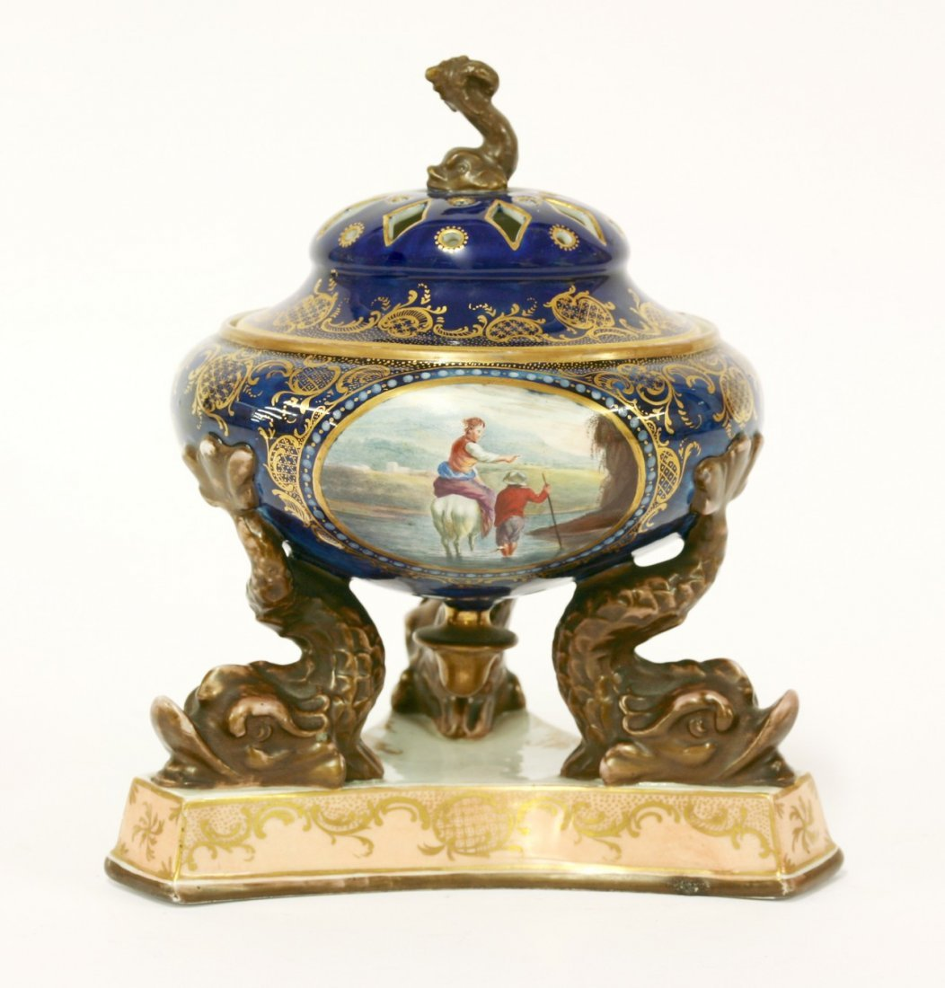 A porcelain and hand painted Pot Pourri and Cover, 19th