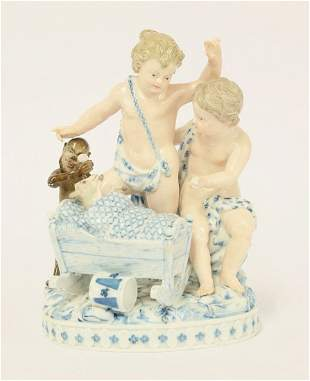 A Meissen Group, late 19th century, of two boys