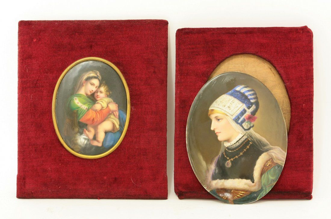 Two oval porcelain Plaques, c.1870-80, lightly printed