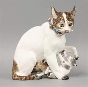 A Samson 'Marcolini Meissen' Cat Group, c.1890, the