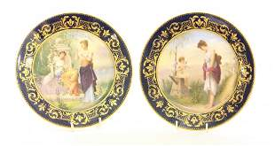 A pair of Vienna Plates, c.1900, each painted within a