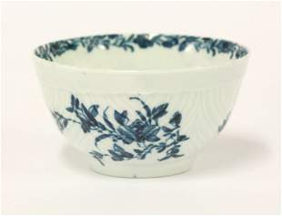 A Worcester Tea Bowl, c.1765, feather moulded and