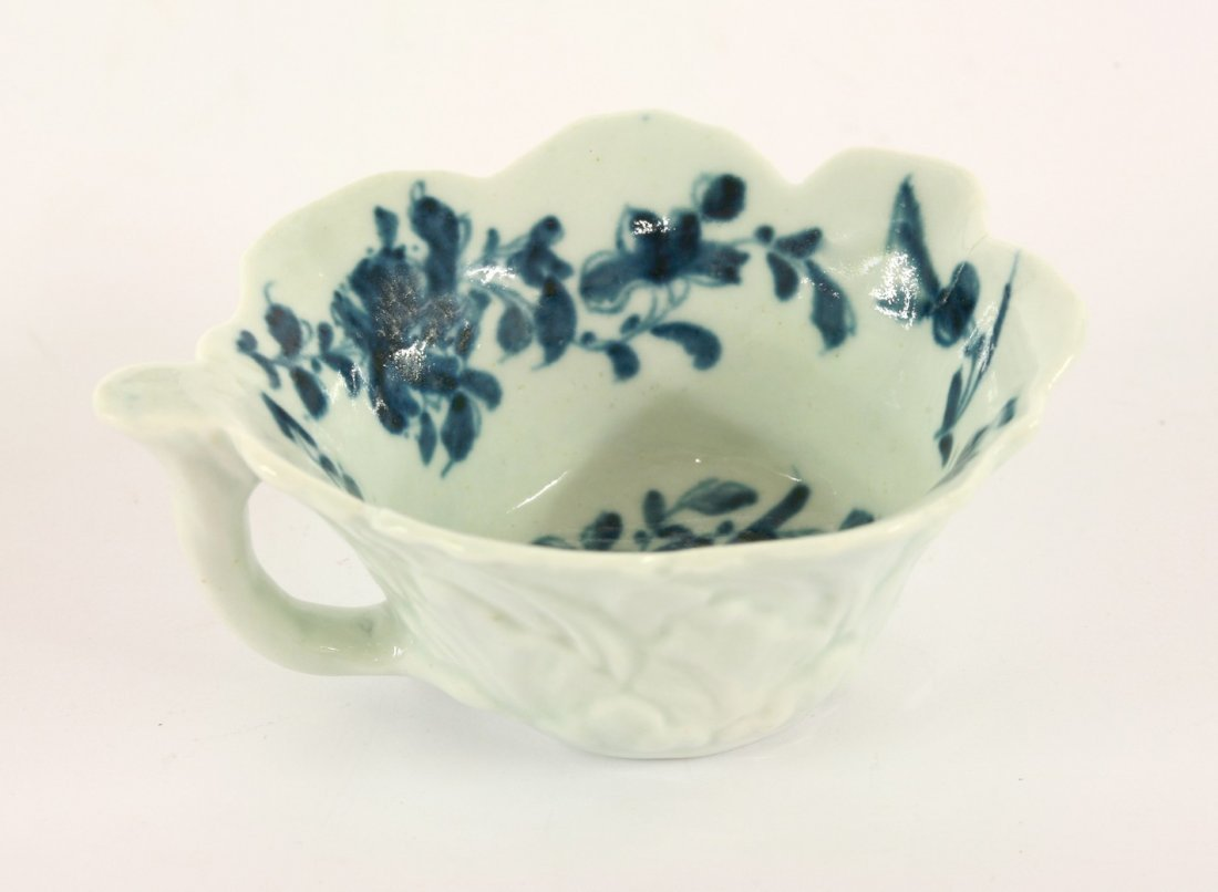A Worcester blue and white Butter Boat, c.1765, with