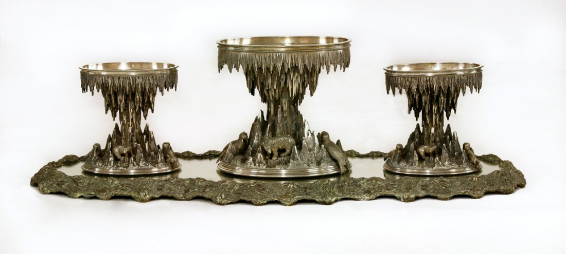 A Victorian silver-plated centrepiece suite, with
