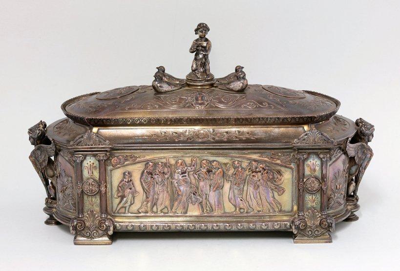 A Victorian silver-plated casket, by Elkington & Co.,