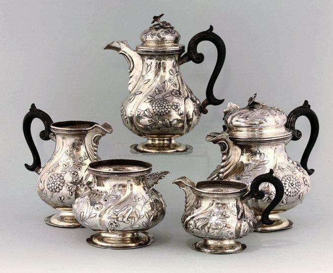 An Austrian silver five-piece tea set, by Alexander