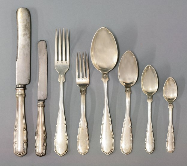 An Austro-Hungarian silver flatware service, by