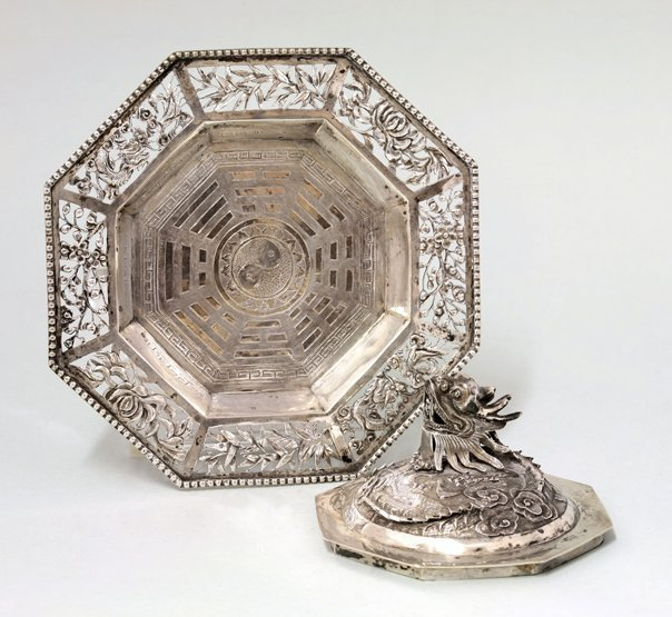 A Chinese silver butter dish stand and cover,  by Hung
