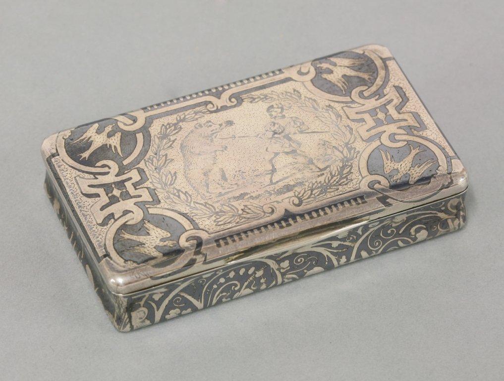 A French silver and niello snuff box, maker's mark
