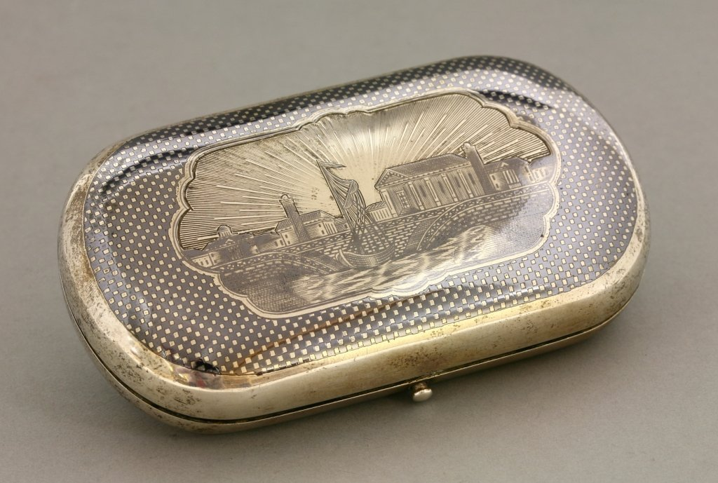 A Russian silver and niello box,  assay master Kiltor