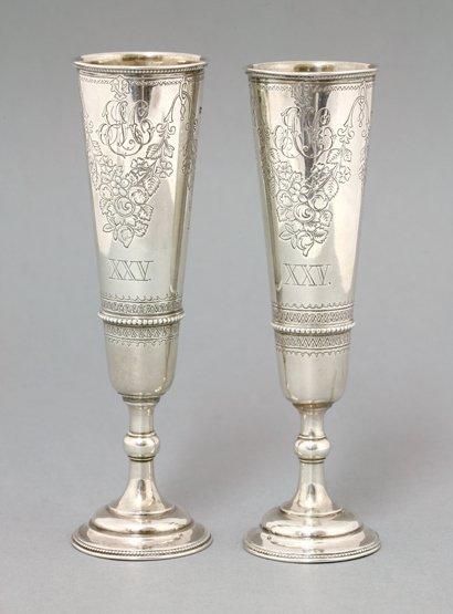 A pair of Russian silver goblets, by Carl Fabergé, 84