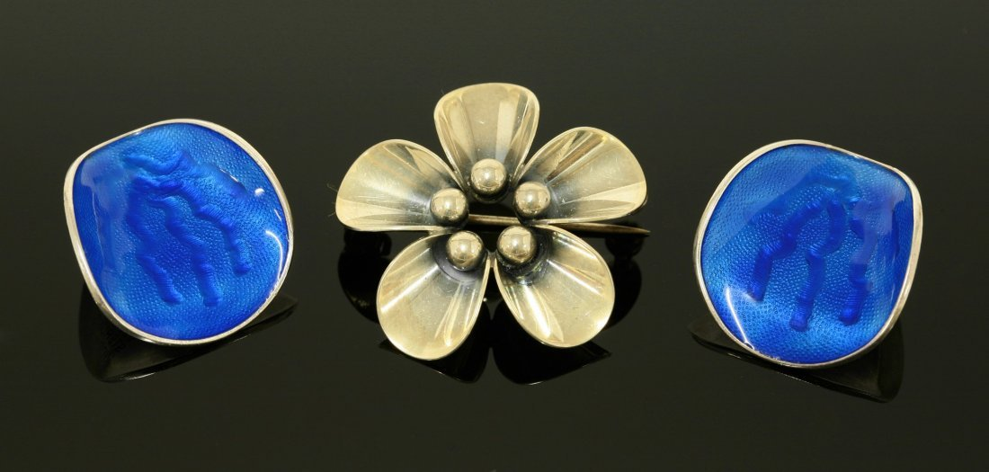 A pair of Norwegian sterling silver enamel clip-on