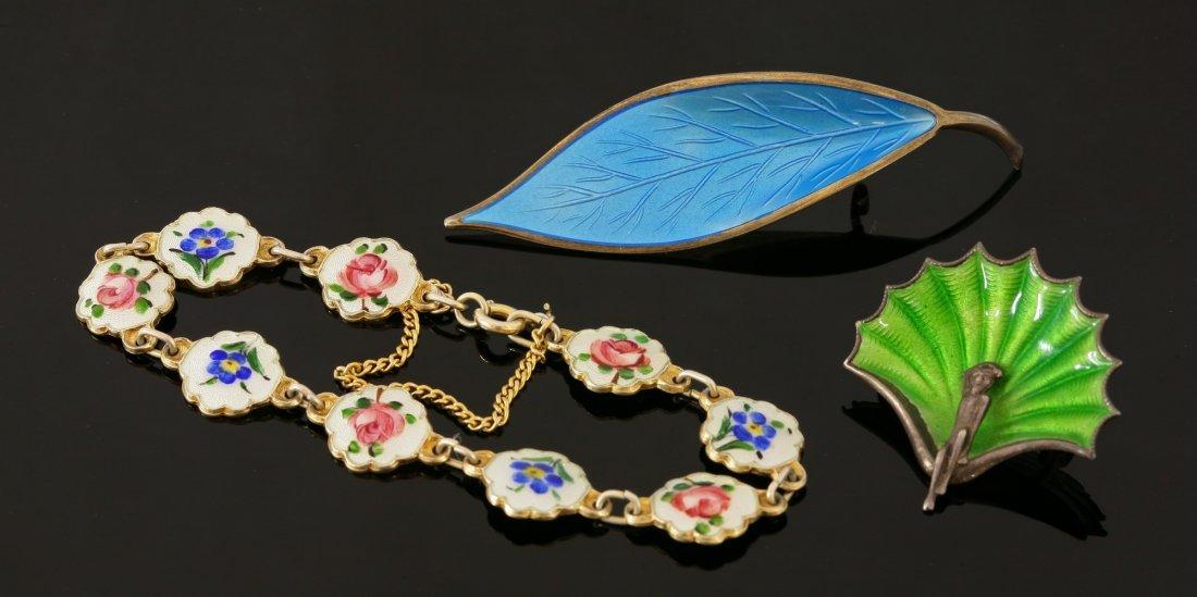A Norwegian silver gilt and enamel leaf brooch,  by