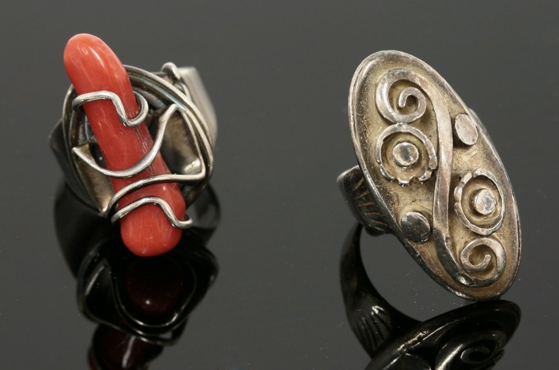 An American sterling silver coral ring, Attributed to