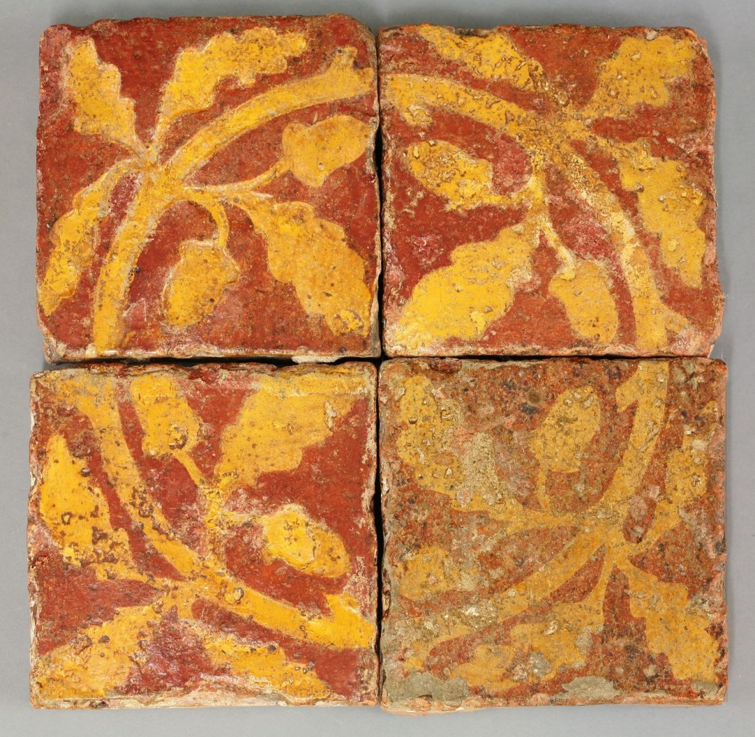 Four encaustic Tiles,   14th-15th century, forming a