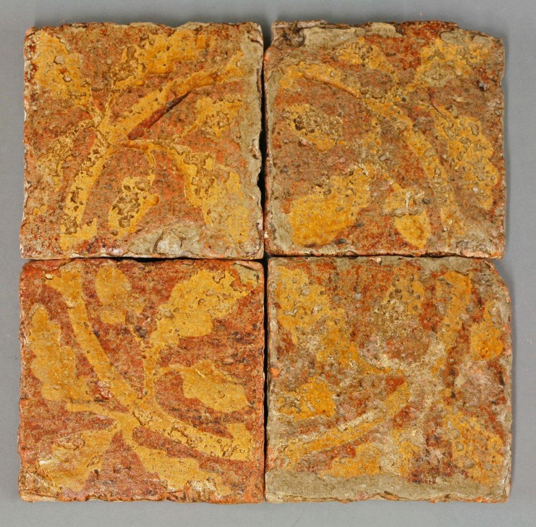 Four similar encaustic Tiles,      14th-15th century,