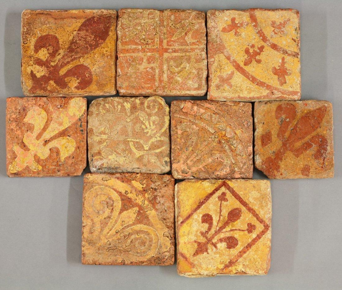 Nine miscellaneous encaustic Tiles,     medieval, each