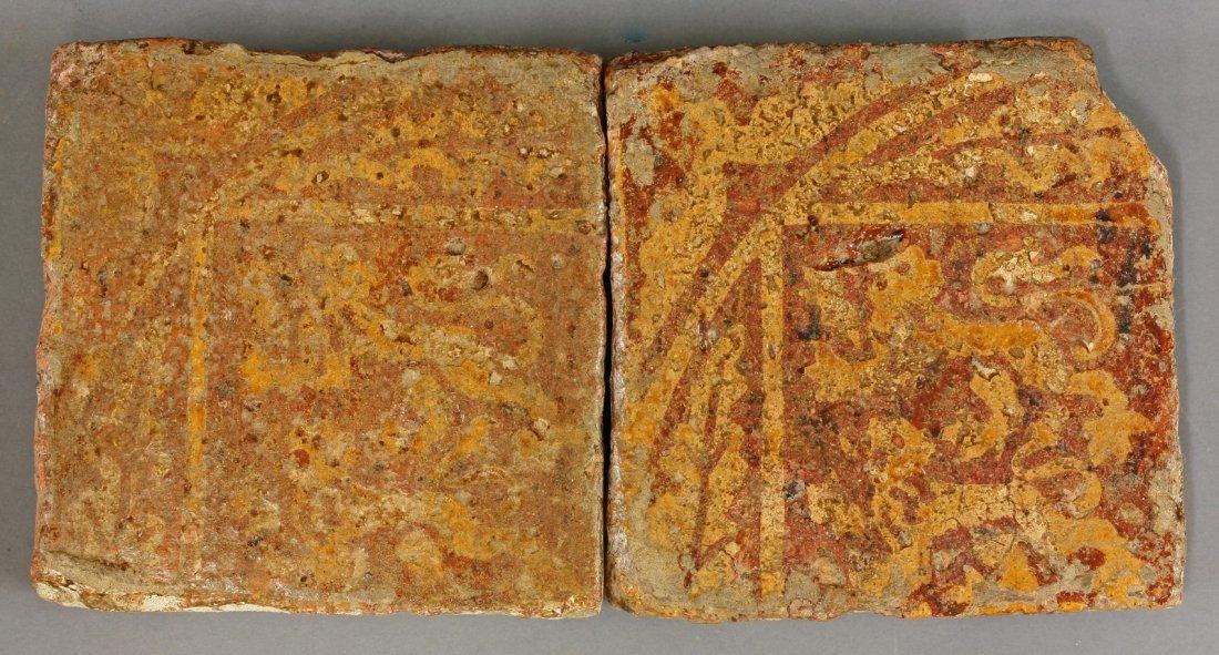 A rare pair of encaustic Tiles,    13th-15th century,