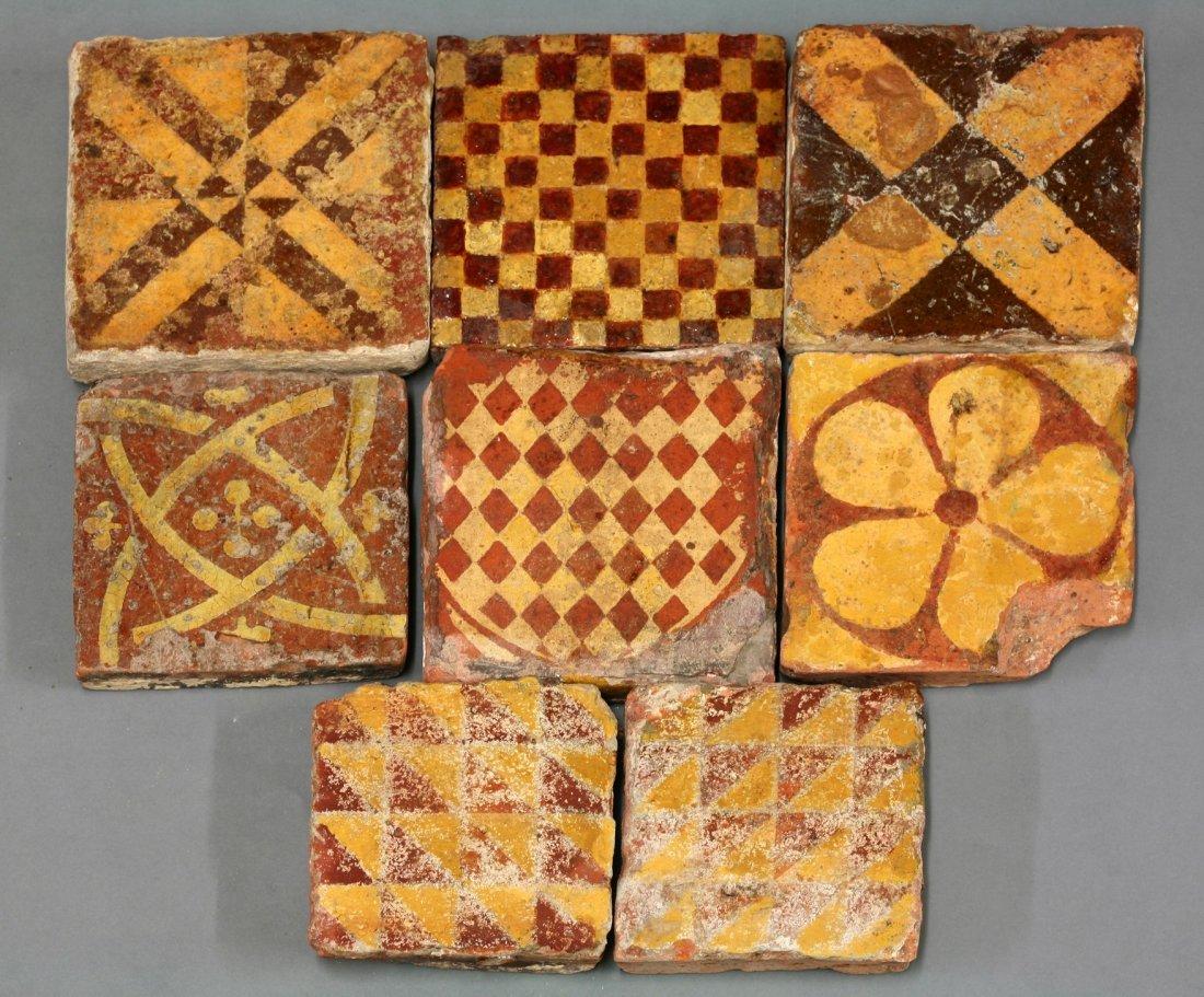 Eight heraldic-style encaustic Tiles,    13th-15th