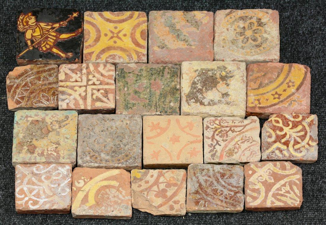 Nineteen miscellaneous encaustic Tiles,     14th-15th